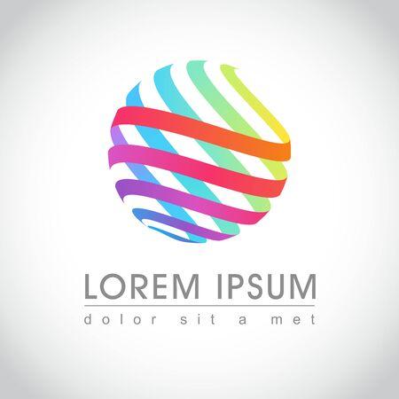 round logo: Abstract colorful round swirl logo sample, illustration Illustration