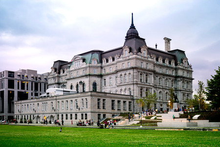 Montreal City Hall, Hotel de Ville de  montreal. Beautiful building in Second Empire style 写真素材