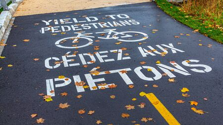 A stenciled warning on an asphalt pathway warns bicycles to yield to pedestrians on foot in both English and French. Fallen autumn leaves are scattered across the bilingual message on wet pavement.
