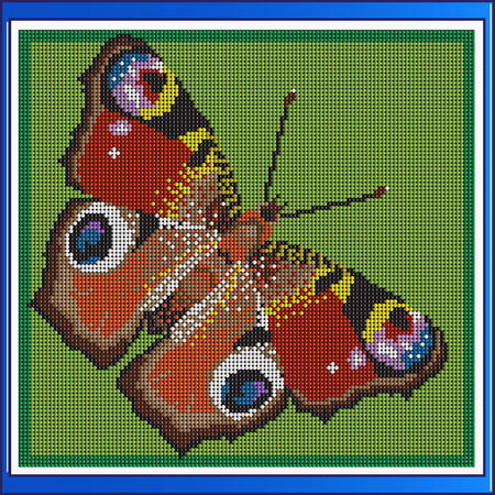 peacock butterfly: Vector colorful butterfly peacock mosaic
