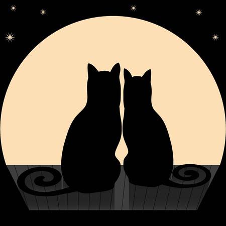 Ilustración vectorial de dos gatos en un tejado