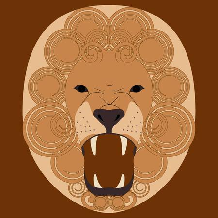 undomesticated: Vector illustration on roaring lions head