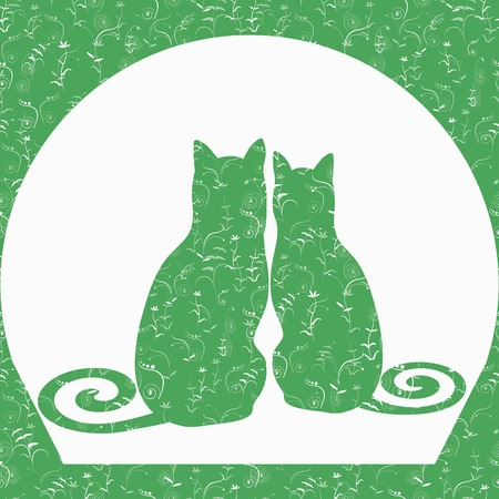 date night: Vector template of two cats