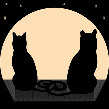 date night: Vector illustration of two cats on a roof