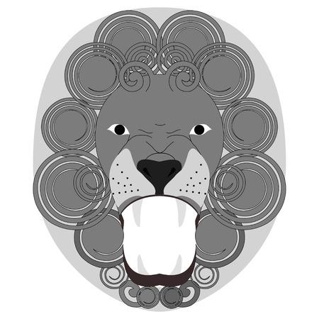undomesticated: Vector illustration of roaring lions head monochrome