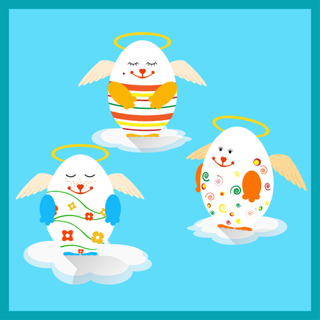 aureola: Vector illustration of Holly Easter eggs with wings