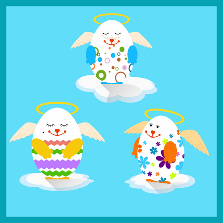 aureola: Vector illustration of Easter eggs with wings Illustration