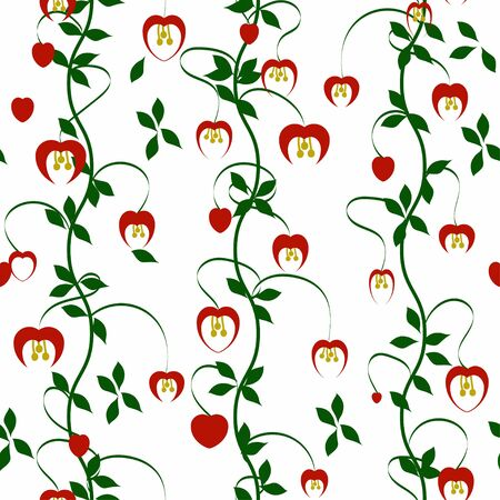 overblown: Seamless pattern with flowers and hearts for wallpaper, fabric print, background - vector illustration