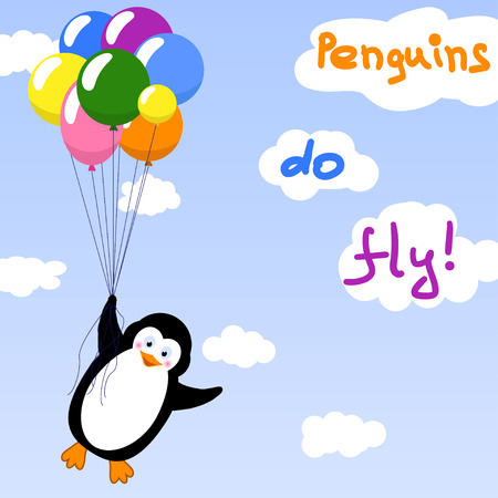 Cute penguin flying with balloons - vector illustration Ilustração