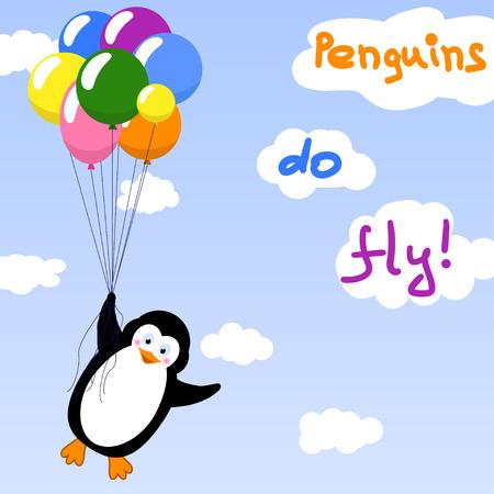 Cute penguin flying with balloons - vector illustration Ilustracja