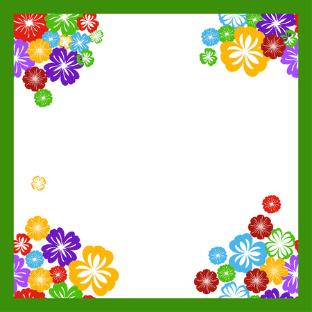 coloful: Greeting card frame with coloful flowers - vector illustration
