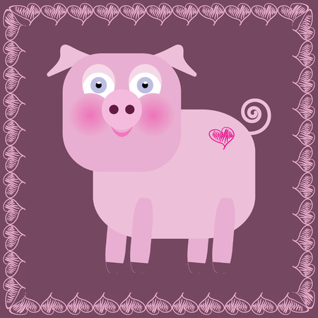 Cute pig cartoon in frame - vector illustration Vector