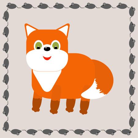 Cute fox cartoon in frame - vector illustration Vector