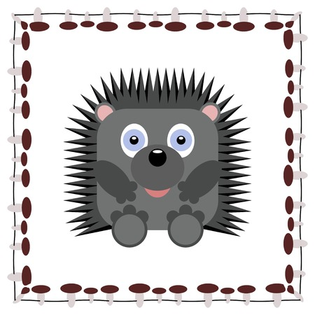 bristles: Cute hedgehog cartoon in frame - vector illustration