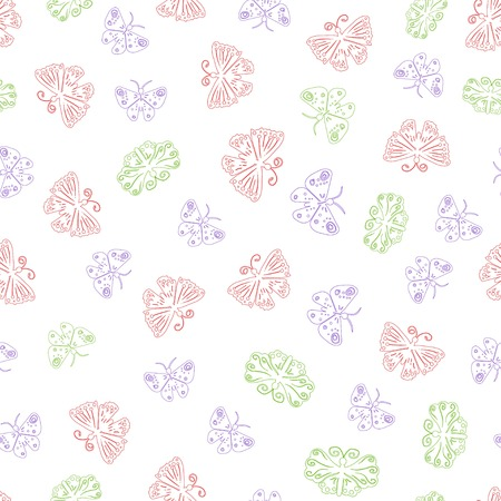 peacock butterfly: Butterfly seamless pattern for background, fabric print, wallpaper, etc. - vector illustration