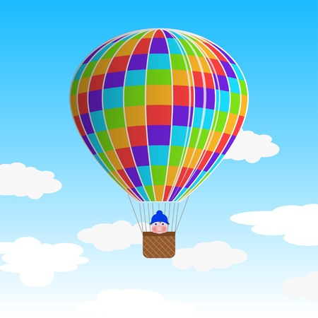cheerfulness: Hot air balloon with a child in basket - vector illustration