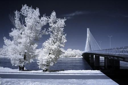 View of the bridge seen through an infrared filter Stock Photo