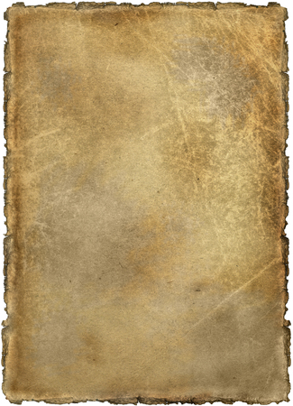Background, old yellowed and stained sheet of paper on a white background, isolated