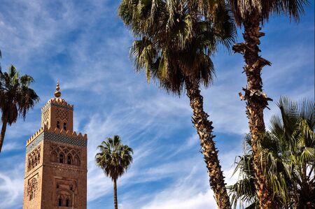 marrakesh: Marrakesh, Morocco - March 17, 2016 - Koutoubia Mosque with blue sky