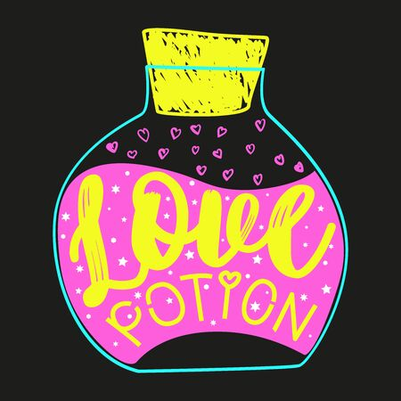 Love elixir. Color hand lettering and custom typography for your designs: t-shirts, bags, for posters, invitations, cards illustration