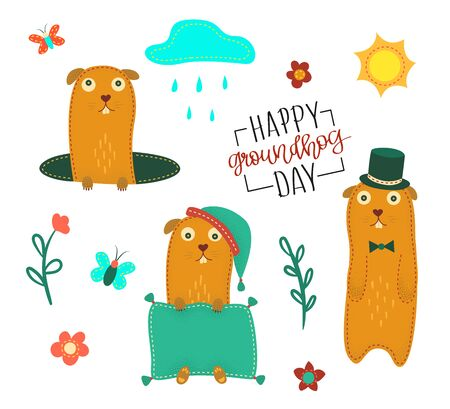 Happy Groundhog Day. Vector Stock illustration with Cute Marmot.