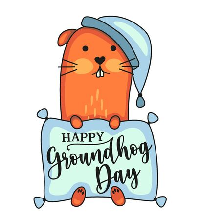 Happy Groundhog Day vector design with cute marmot character. Black text and sleepy woodchuck isolated on white background. Stock illustration 向量圖像