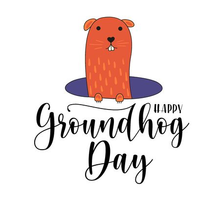 Happy Groundhog Day vector design with cute marmot character. Black text and woodchuck isolated on white background. Stock illustration