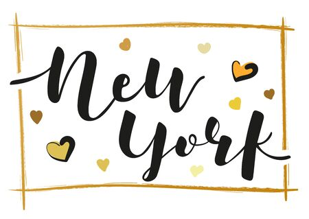 New York city. Lettering inscription with decorative elements. Black text on white background. Vector stock illustration.