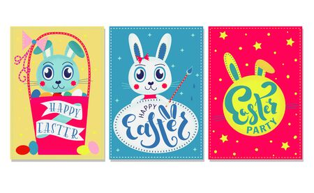 Cute Happy Easter templates with rabbits and lettering. Good for greeting cards and invitations. Vector stock illustration.