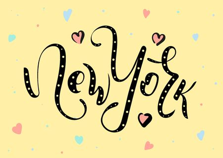 New York city. Lettering inscription with decorative elements. Vector stock illustration.
