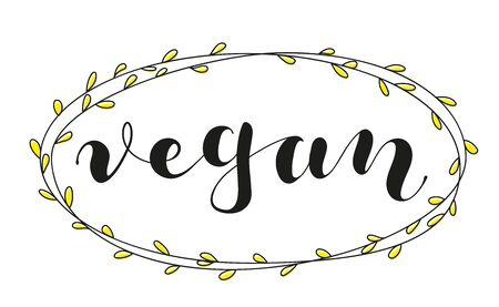 Vegan lettering for banner, label, packaging. Black text isolated on white background. Vector stock illustration. 일러스트