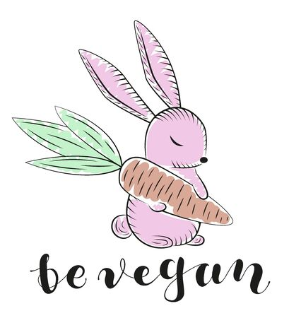 Be vegan - lettering. Rabbit with carrot, colored illustration. Vector stock graphic.
