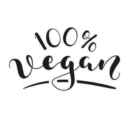 100% Vegan lettering. Black text isolated on white background. Vector stock illustration. 일러스트