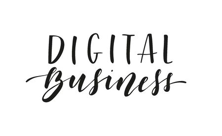 Digital Business. Lettering. Black text. Vector stock illustration isolated on white background. 向量圖像