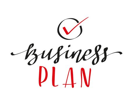 Business Plan. Lettering. Black and red text. Vector stock illustration isolated on white background.