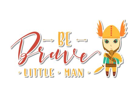 Be Brave Little Man. Viking Vector stock illustration 일러스트