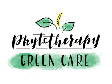 Vector stock illustration. Lettering Phytotherapy isolated on white background