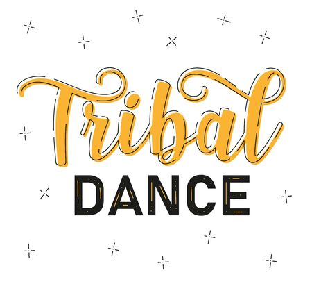 ribal dance. Lettering. Belly dance stile. Text isolated on white background. Vector stock illustration. 向量圖像