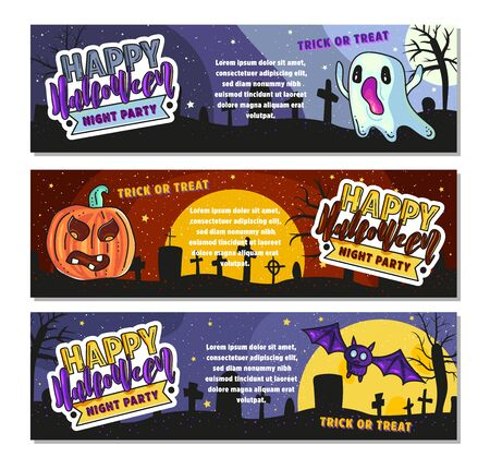 Set of three Halloween banners. Night party. Vector stock illustration.
