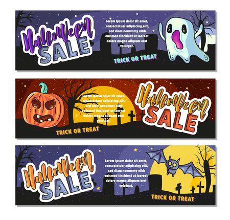 Set of three Halloween banners. Sale Vector stock illustration.