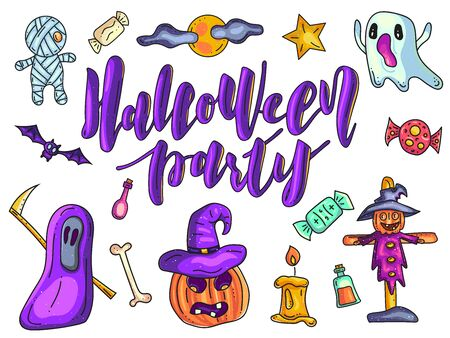 Halloween party. Set of Halloween doodle. Vector stock illustration.