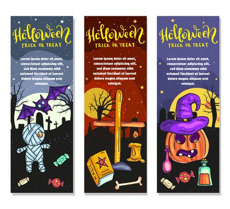 Set of three Halloween banners. Trick or treat. Vector stock illustration.
