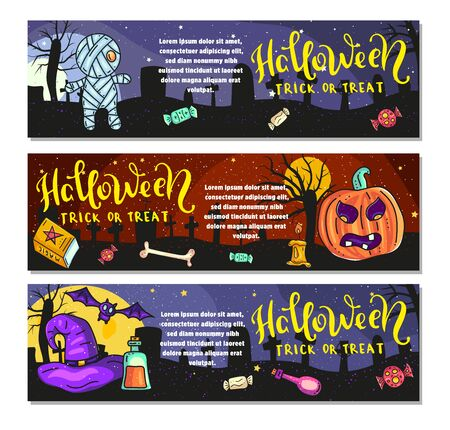 Set of three Halloween banners. Trick of treat.