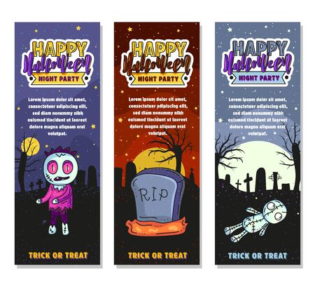 Set of three Halloween banners. Vector stock illustration. Night party