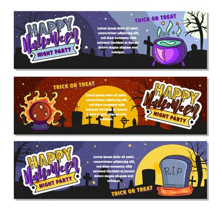 Set of three Happy Halloween banners. Vector stock illustration.
