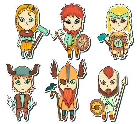 Cartoon vikings on white background. Vector stock illustration. Little warriors, children with arms Ilustrace