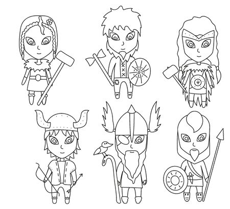 Outline Cartoon vikings on white background. Vector stock illustration. Set of little warriors, children with arms