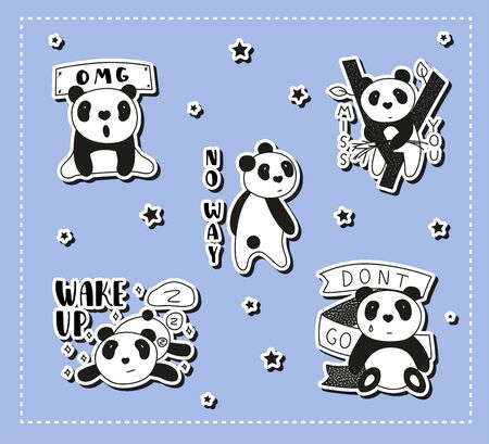 Cute Panda bear illustrations, collection of vector hand drawn elements.