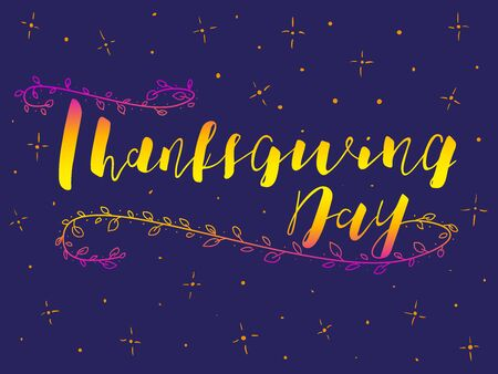 Thanksgiving Calligraphy Text. Vector stock illustration. Lettering