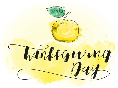 Thanksgiving Calligraphy Text. Vector stock illustration. Lettering with apple